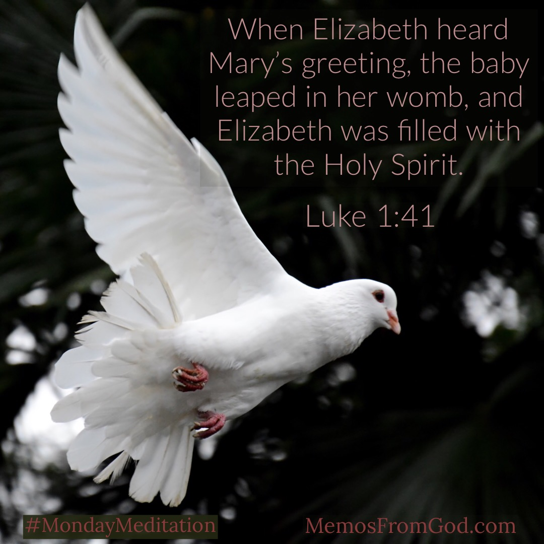When Elizabeth heard Mary's greeting, the baby leaped in her womb, and Elizabeth was filled with the Holy Spirit. Luke 1:41