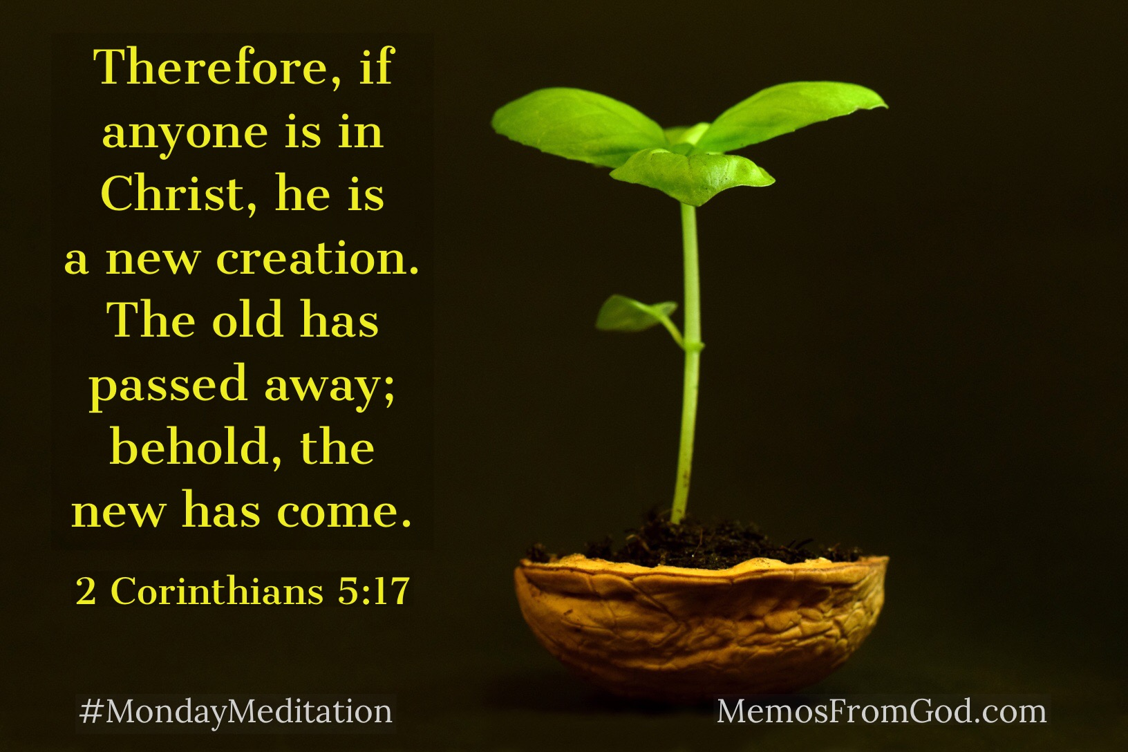 Therefore, if anyone is in Christ, he is a new creation. The old has passed away; behold, the new has come.