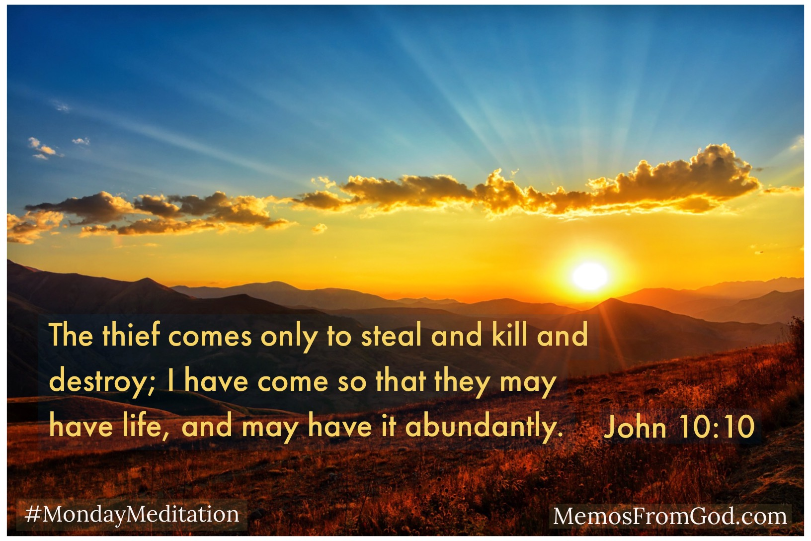 The thief comes only to steal and kill and destroy; I have come so that they may have life, and may have it abundantly. John 10:10