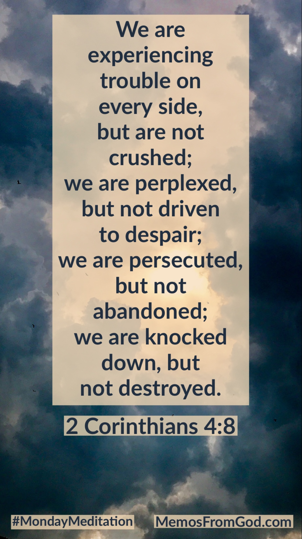 We are experiencing trouble on every side, but are not crushed; we are perplexed, but not driven to despair; we are persecuted, but not abandoned; we are knocked down, but not destroyed. 2 Corinthians 4:8