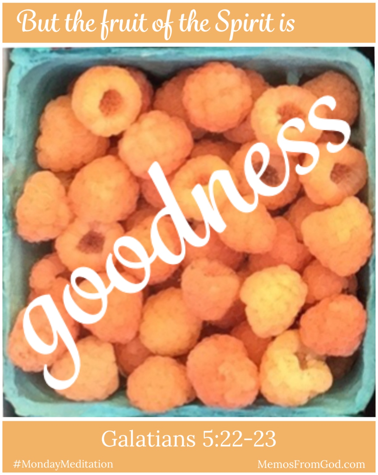 The top view of a pint box of golden raspberries. Caption: But the fruit of the Spirit is goodness. Galatians 5:22-23