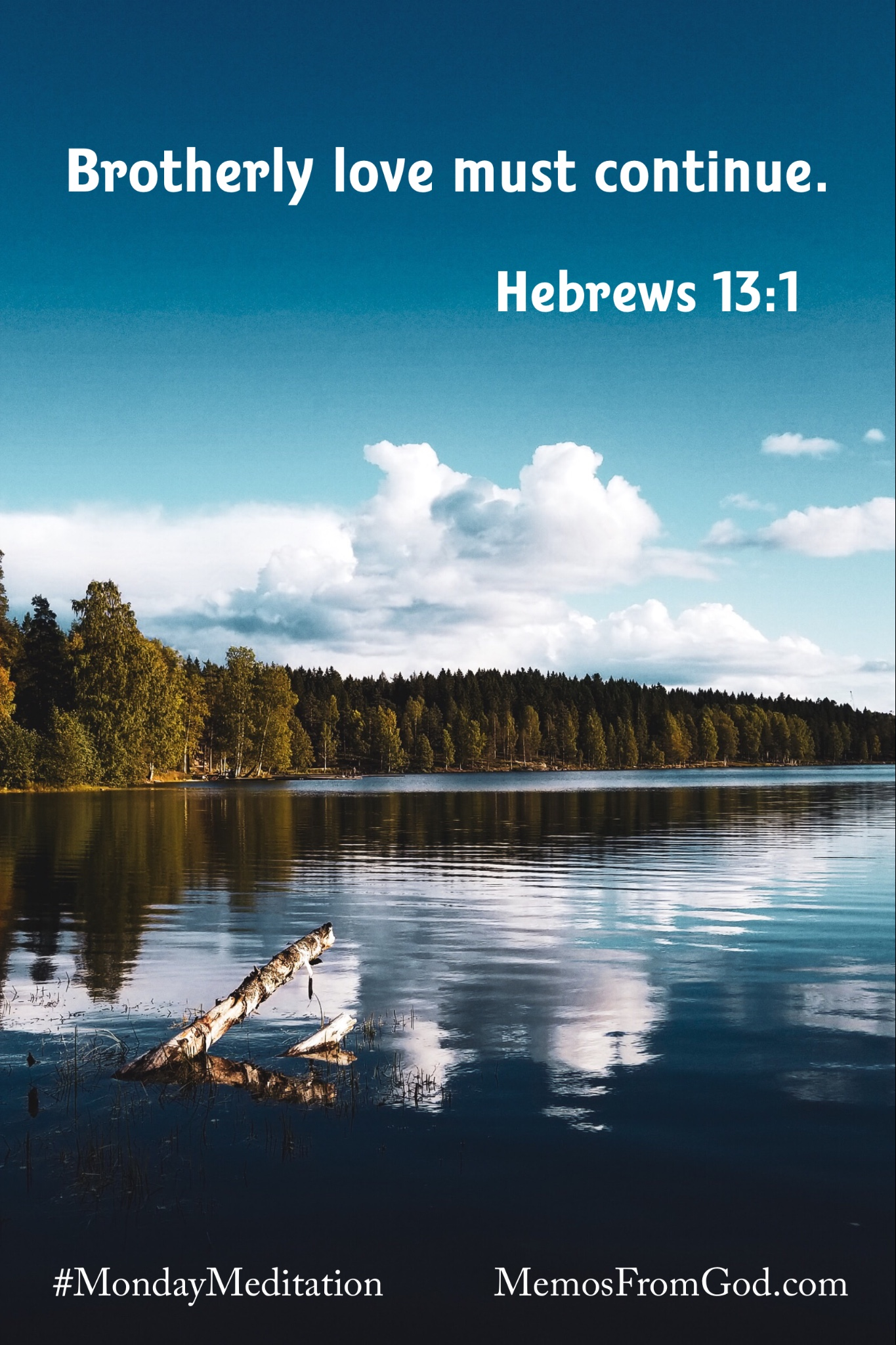White clouds in a deep teal sky reflecting in a lake with evergreen trees on the horizon. Caption: Brotherly love must continue. Hebrews 13:1