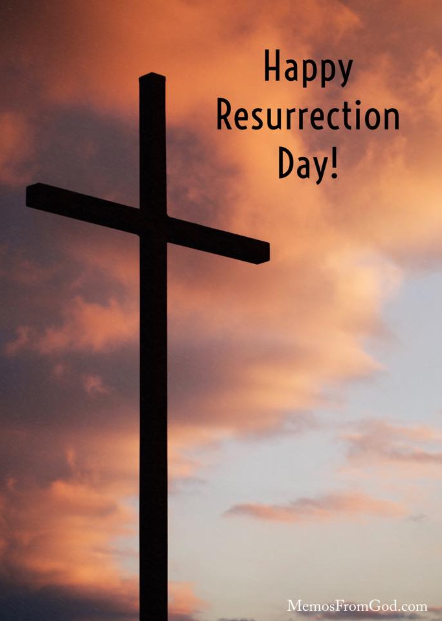 Silhouette of an empty cross in front of a dark orange sky. Caption: Happy Resurrection Day!